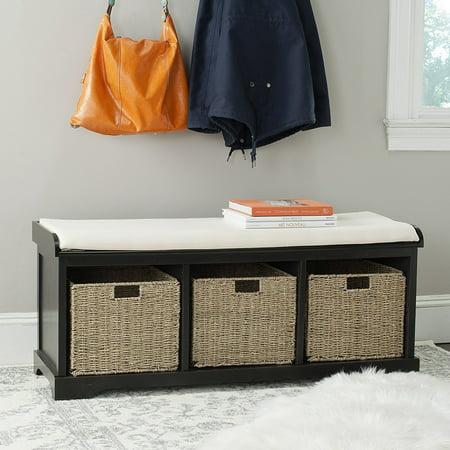 Admirable Safavieh Home Collection Lonan Black And White Wicker Storage Bench Frankydiablos Diy Chair Ideas Frankydiabloscom