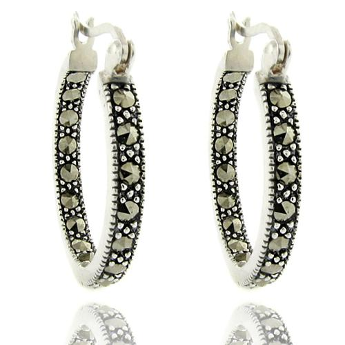 Dolce Giavonna  Silver Overlay Marcasite Hoop Earrings