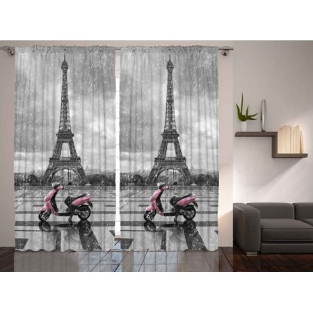 Rainy Paris Scene Eiffel Tower Gray and Pink Monochrome Room Curtains 2 (Pink Eiffel Tower)