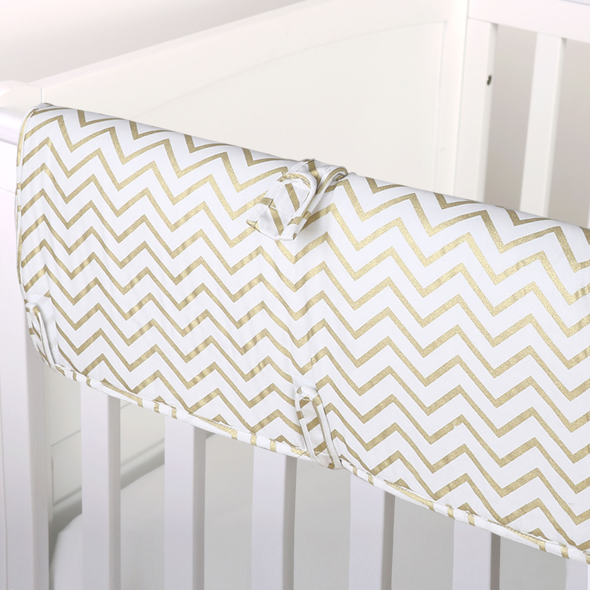 The Peanut Shell Baby Crib Rail Guard - Metallic Gold Zig Zag Print - 100% Cotton Sateen Cover, Polyester Fill