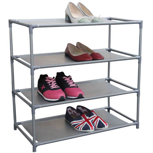 Home Basics 12-Pair, 4 Tier Shoe Shelf
