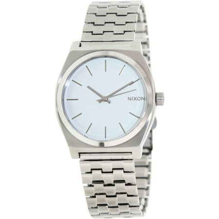Nixon Men's Time Teller A045100 White Stainless-Steel Quartz Fashion Watch Stainless Steel Case, Stainless Steel Bracelet, Quartz Movement, Mineral Crystal, White Dial, Analog Display, Deployment Clasp, 100M Water Resistance