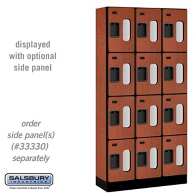 SalsburyIndustries S-34365CHE 15 inch Deep Four Tier 3 Wide See-Through Designer Wood Locker - Cherry