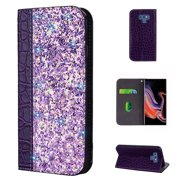 Galaxy Note 9 Case, Galaxy Note 9 Cover, Allytech Unique Bling Design PU Leather Wallet case with Wrist Strap Flip Folio Kickstand Cover for Samsung Galaxy Note 9 Phone 2018 Release, Purple