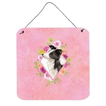 Border Collie Pink Flowers Wall or Door Hanging Prints