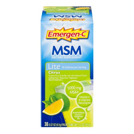 Image of Emergen-C Lite MSM (30 Count, Citrus Flavor) Dietary Supplement Fizzy Drink Mix with 1000mg Vitamin C, 1000mg MSM, 5.1 Ounce Packets