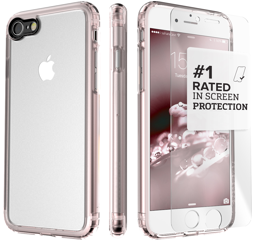 SaharaCase iPhone 8 and 7 Case Clear Protective Kit Bundle with ZeroDamage Tempered Glass Screen Protector ? Rose Gold Clear