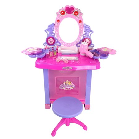 Battery Operated Princess Vanity Mirror Dresser Playset w/ Lights, Opening Dresser, Chair Stool, Sounds & Jewelry Accessories ()