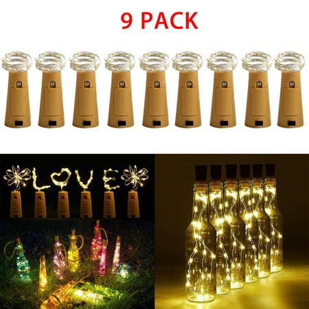 EEEKit  9-Pack Bottle Lights, LED Night Lights, 6.6FT Cork Shaped 20LED Starry Wine Bottle Lighting Lamp for Christmas Party Home Garden Wedding Outdoor Indoor Decoration ()
