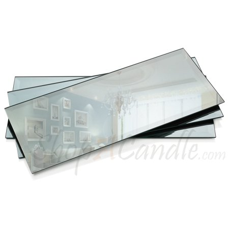 5 X 12 Inch Rectangle Mirror Candle Plate 3 mm Thick with Beveled Edge set of 3