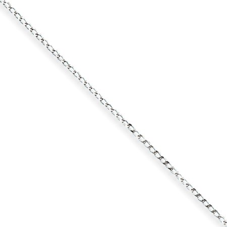 1mm, Sterling Silver Open Link Solid Curb Chain Necklace, 18 Inch