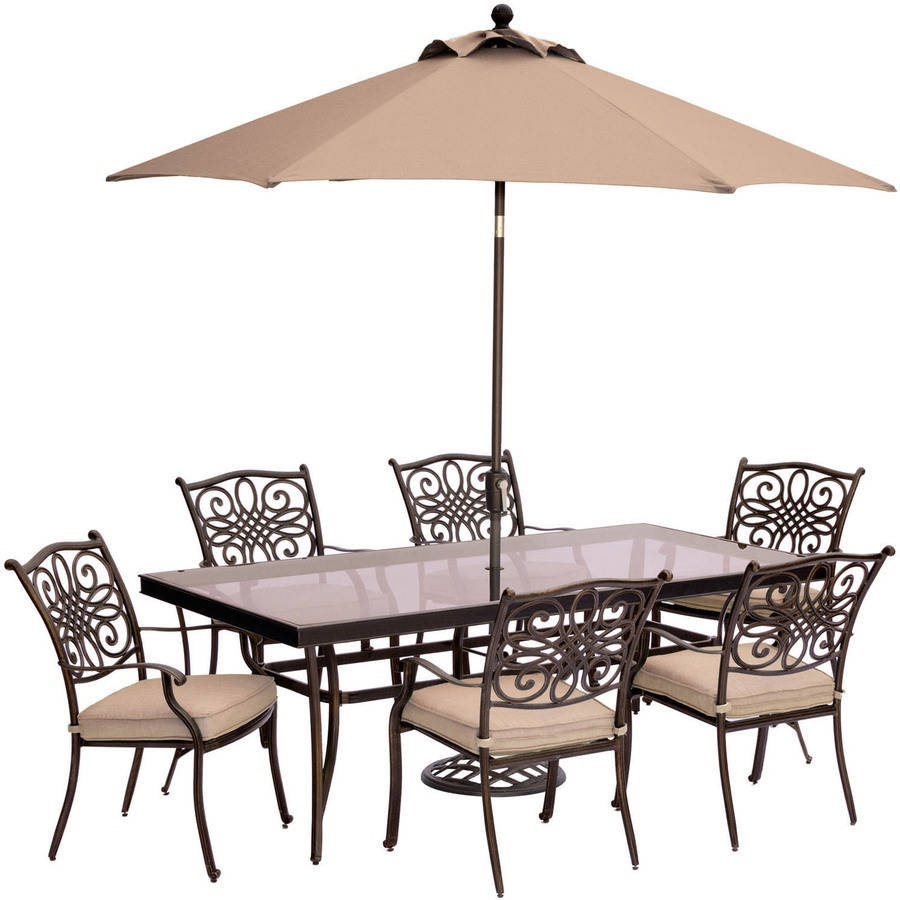 "Hanover Outdoor Traditions 7-Piece Dining Set with with 42"" x 84"" Glass-Top Table, 6 Stationary Chairs and Umbrella w/Stand"