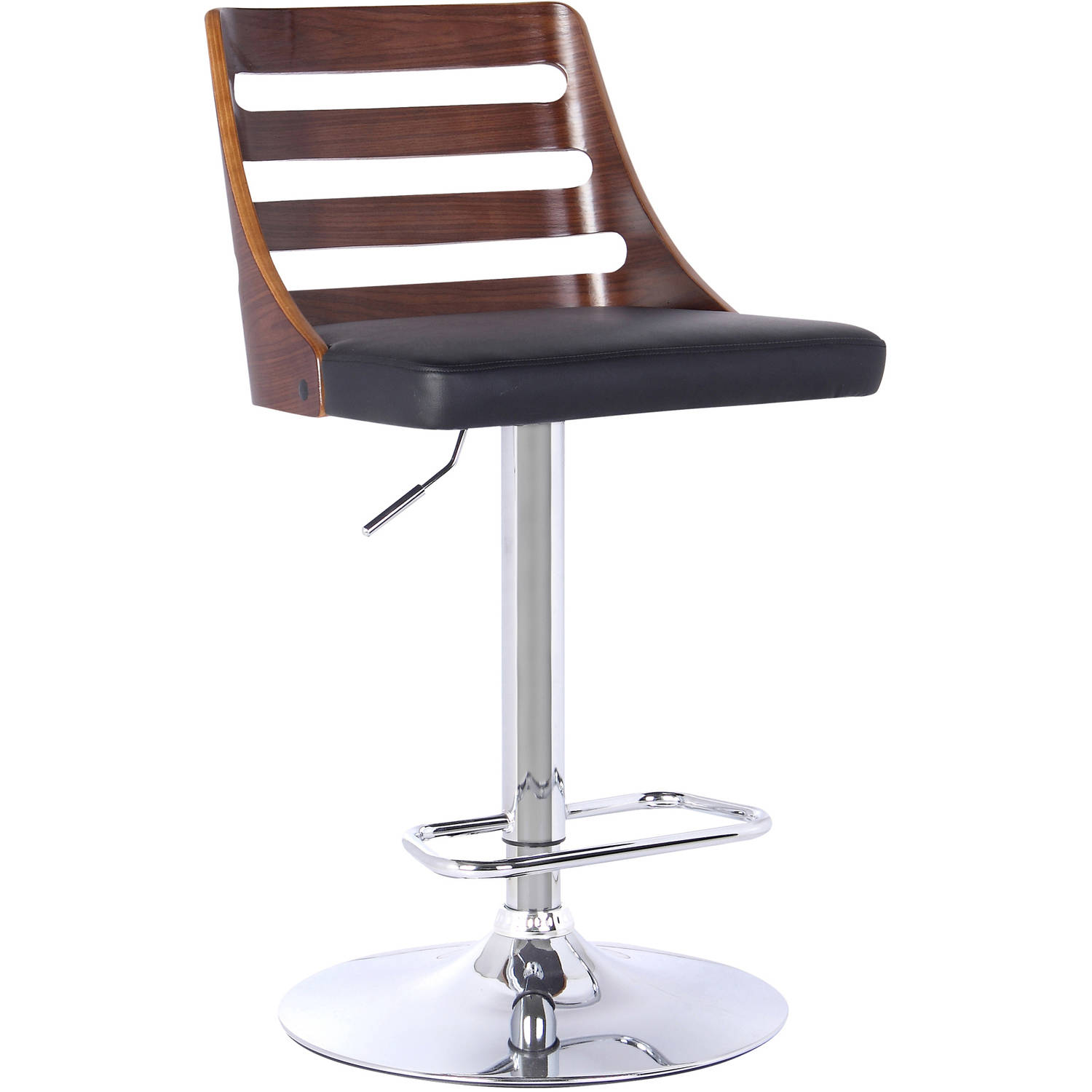 Armen Living Storm Barstool, Chrome Finish with Walnut Wood and PU Upholstery