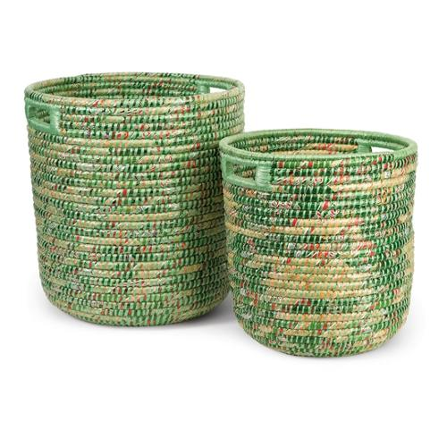 Set of 2 Decorative Sea Grass Recycled Hand Woven Storage Baskets 19.75""