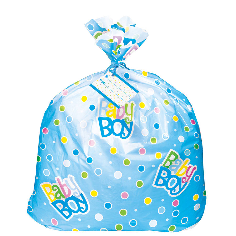 Jumbo Plastic Polka Dot Boy Baby Shower Gift Bag, 44 x 36 in, Blue, 1ct