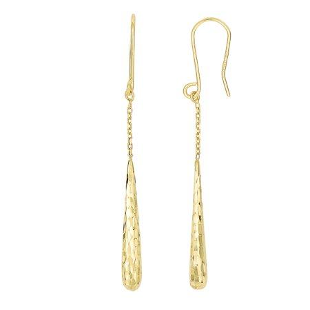 Long Oval Link - 14K Yellow Gold Diamond Cut Long Teardrop on Oval Link Chain Drop Earrings Euro Wire by IcedTime