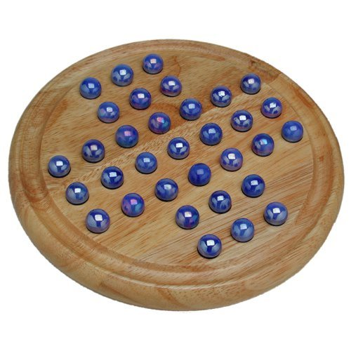 Wood Solitaire with Glass Marbles
