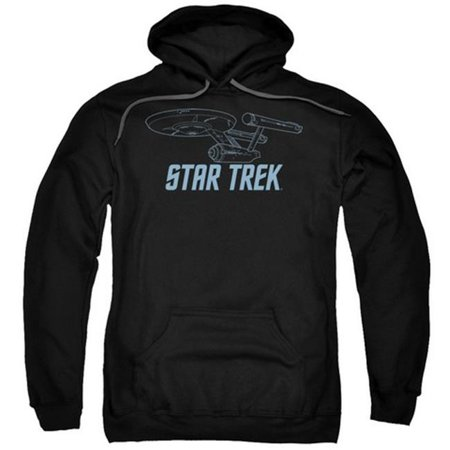 Trevco Star Trek-Enterprise Outline - Adult Pull-Over Hoodie - Black, Extra Large
