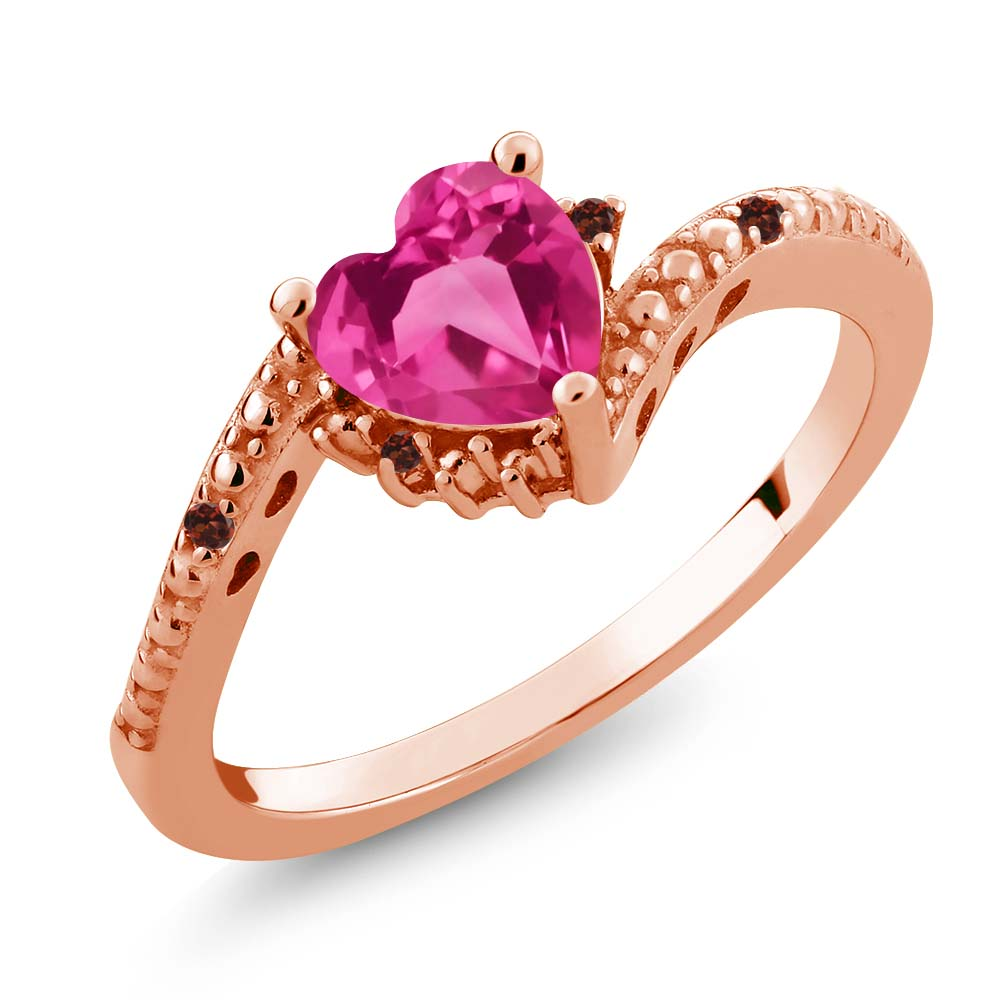 0.98 Ct Heart Shape Pink Mystic Topaz Red Garnet 18K Rose Gold Ring by