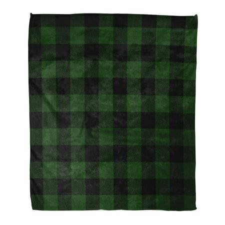 KDAGR Flannel Throw Blanket Check Green Buffalo Plaid Pattern Printing Black Christmas Hunter Lumberjack 50x60 Inch Lightweight Cozy Plush Fluffy Warm Fuzzy (Hunter Green Blanket)