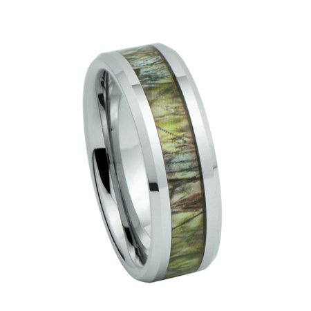 Unisex Camo Duck Blind Hunting Tan/ Brown Camouflage 7mm Tungsten Wedding Band Ring
