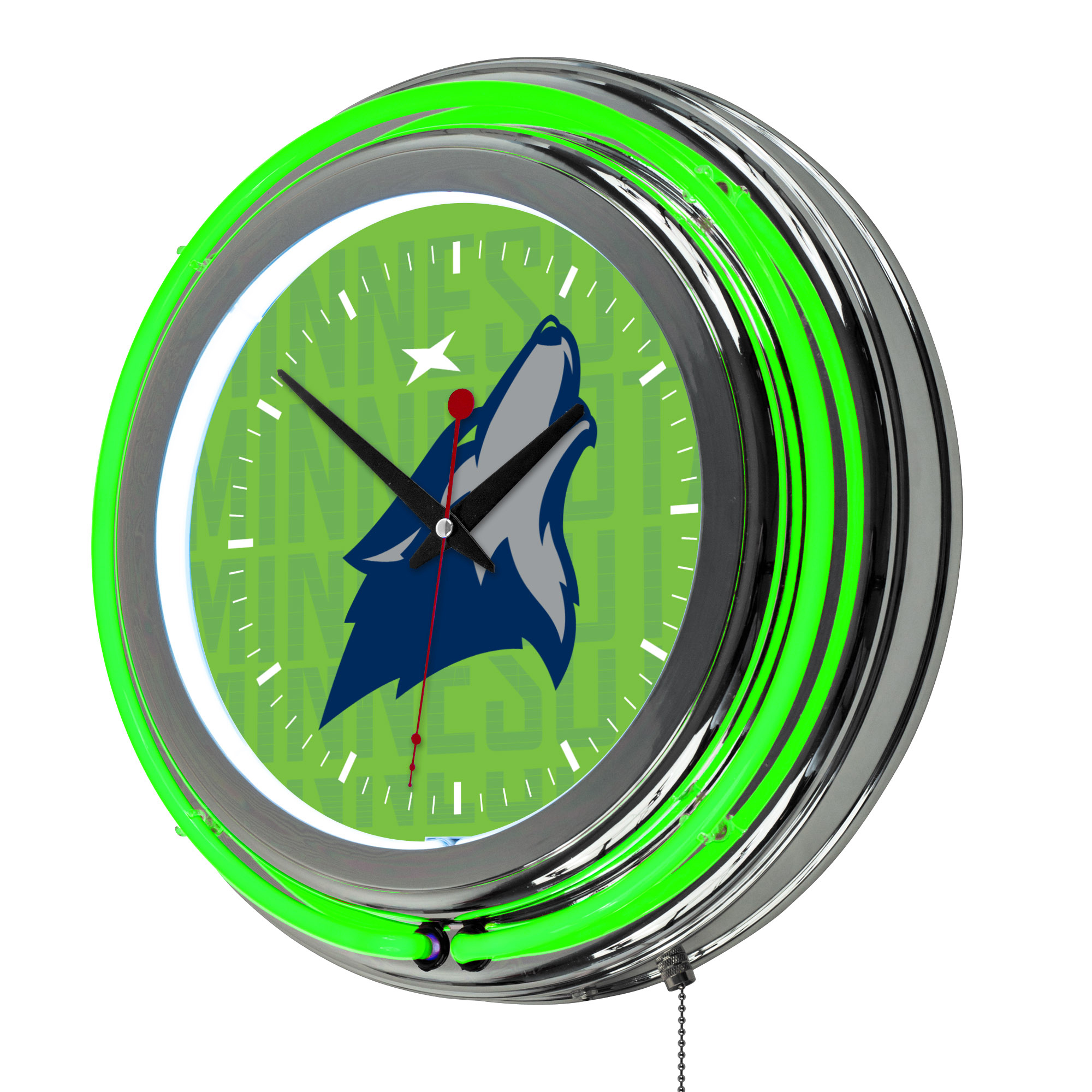 NBA Chrome Double Rung Neon Clock - City - Minnesota Timberwolves