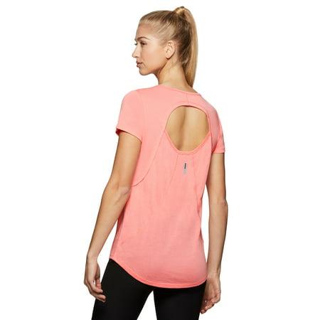 e5c811b271 RBX - RBX Active Women's Short Sleeve Open Back Yoga Shirt - Walmart.com