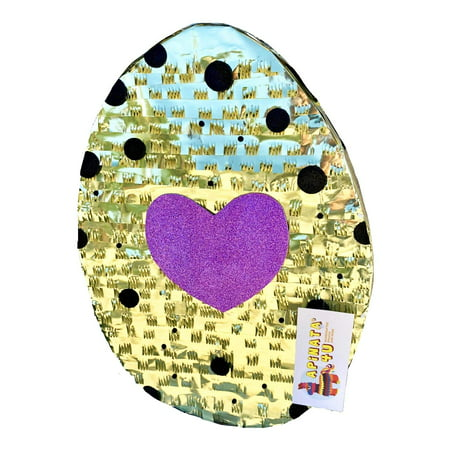 APINATA4U Gold Color Egg Pinata with Pink Glitter Heart Accent Easter Theme Party Favor](Easter Egg Pinata)