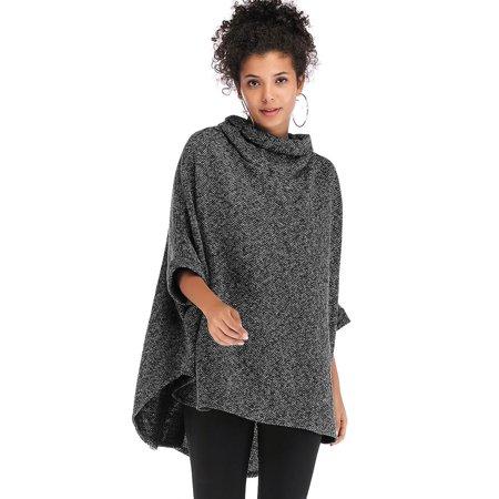 Women's Knitted Warm Sweater Cape Long Knitted Irregular Hem Sweatshirt Plus Size Turtleneck Cloak Bat Sleeve Blouse Tops