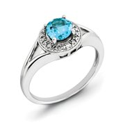 Sterling Silver Rhodium-plated Diam. & Blue Topaz Ring Size 6