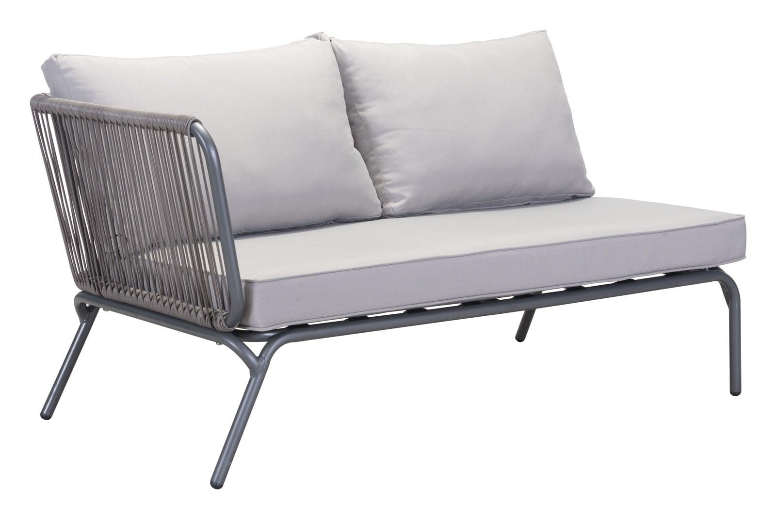 Modern Contemporary Urban Outdoor Patio Balcony Corner Sofa Chair Grey Sunproof Fabric Synethetic Weave Aluminum Walmart Com