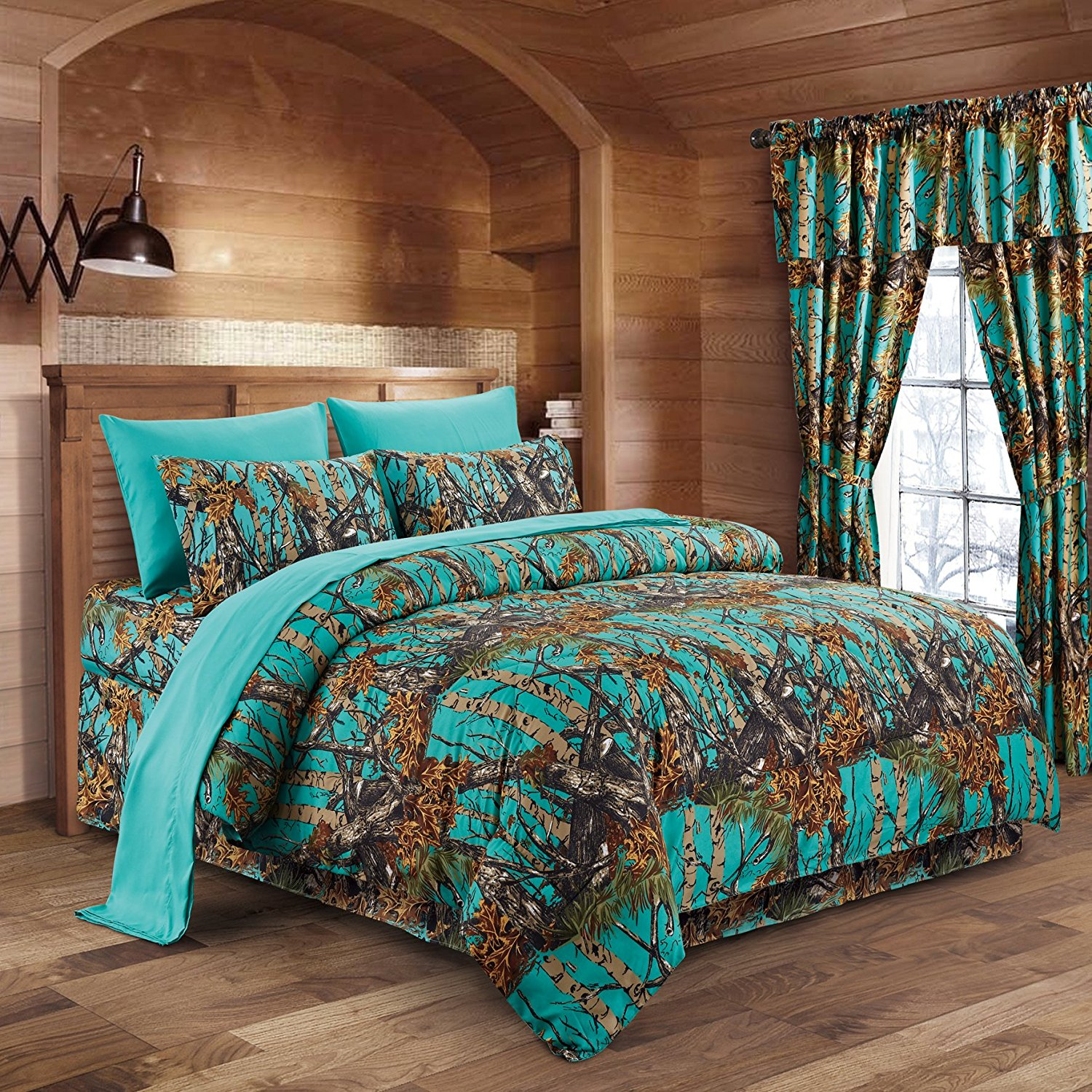 Regal Comfort The Woods Teal Camouflage King 8pc Premium Luxury Comforter, Sheet, Pillowcases, and Bed Skirt Set by Camo Bedding Set For Hunters Cabin or Rustic Lodge Teens Boys and Girls