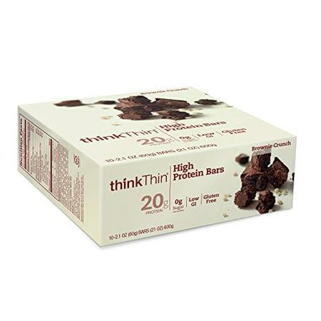 ThinkThin Gluten-Free Brownie Crunch High Protein Bars, 2.1 Oz., 10