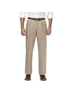 Haggar Men's Premium No Iron Khaki Pleat Front Pant Classic Fit HC10897