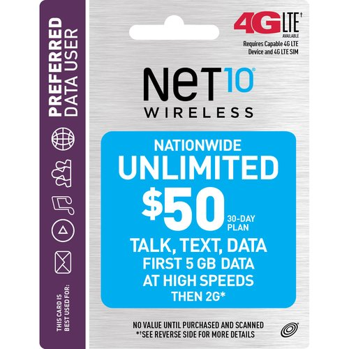NET10 Wireless $50 30-Day Plan Prepaid Phone Card