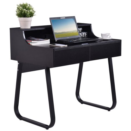 (Costway Computer Desk PC Laptop Study Writing Table Workstation w/ 2 Drawers Home Office)