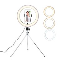 """10.23"""" LED Ring Light Kit with Tripod Stand 3-Light Colors for Makeup, Camera, Smart Phone, YouTube, Self-Portrait Shooting"""