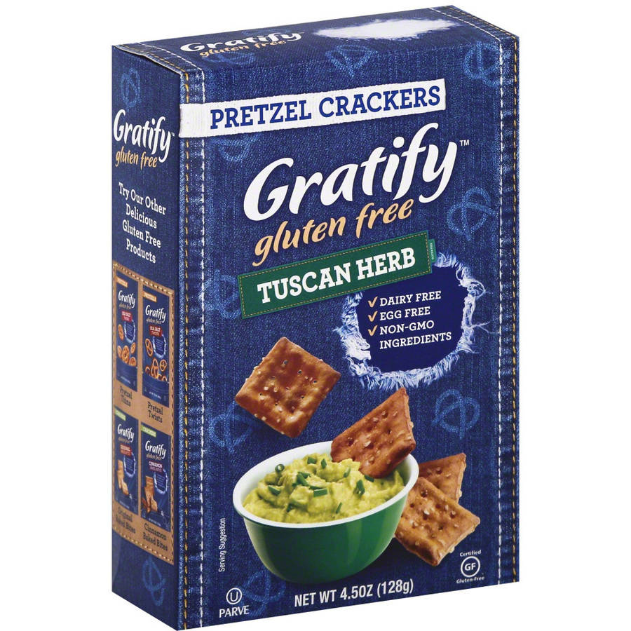 Gratify Gluten Free Tuscan Herb Pretzel Crackers, 4.5 oz, (Pack of 12)