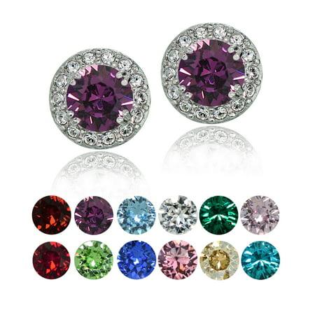 Crystal Ice Sterling Silver Swarovski Elements Birthstone Halo Stud Earrings