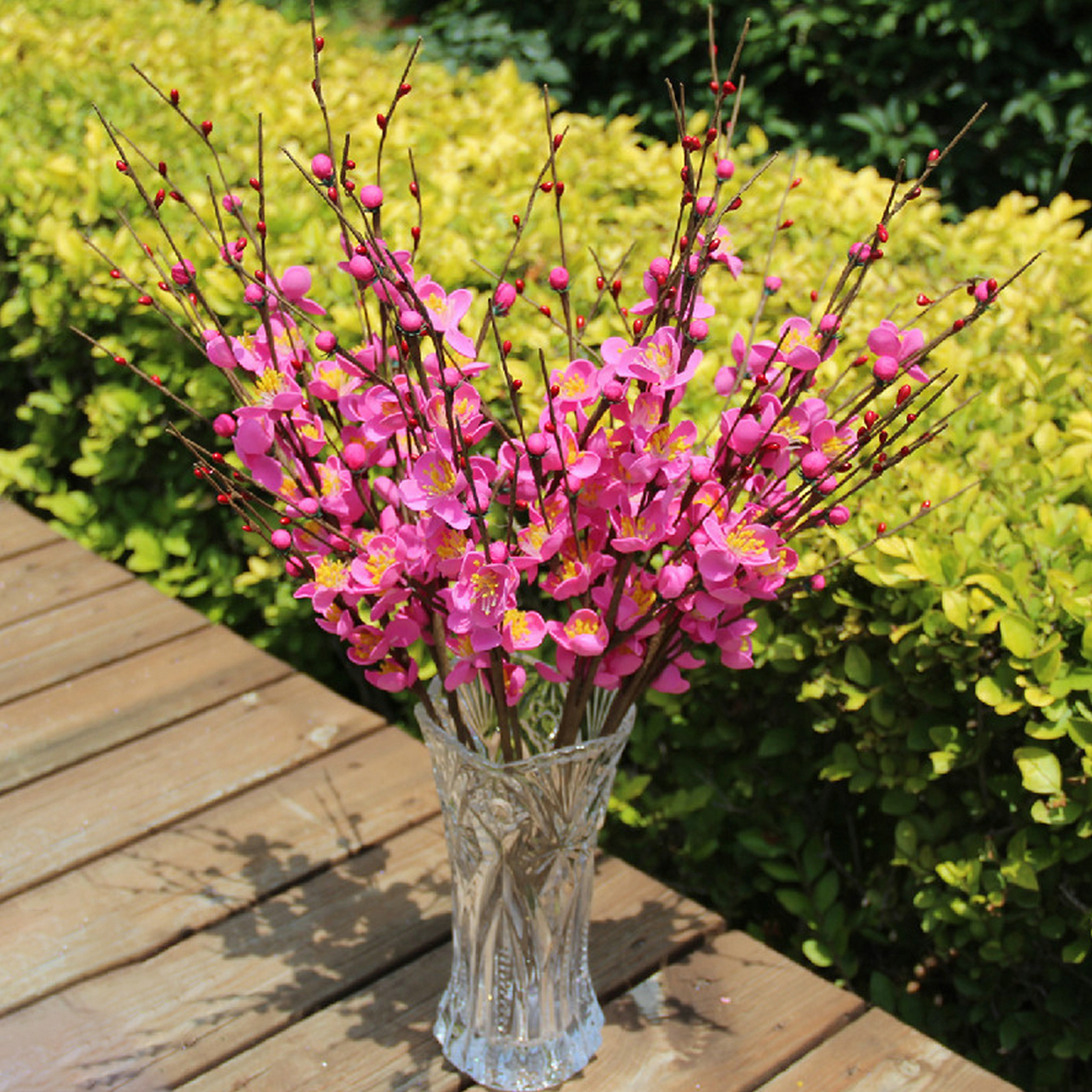 12 Head Houseplant Artificial Winter Bouquet Fake Garden Plant Flower Home Decor Walmart Com Walmart Com
