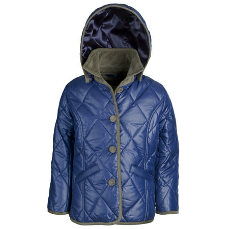 Arctic Circle Girls Padded Quilted Fall Winter Rain Trench Coat Jacket with Hood - Fall Items