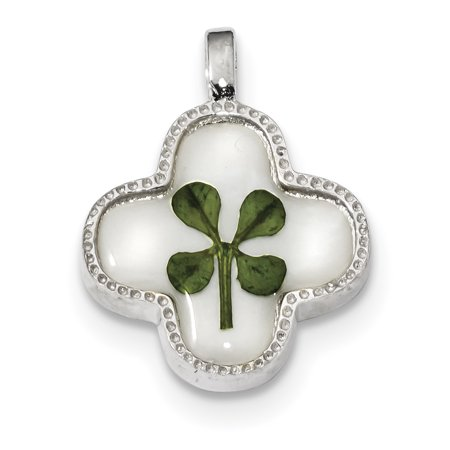 Silver Plated Shell - 925 Sterling Silver Platinum Plated Real Clover Epoxy Sea Shell Mermaid Nautical Jewelry Pendant Charm Necklace Good Luck Italian Horn Gifts For Women For Her
