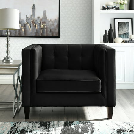 Rin Black Velvet Club Chair Button Tufted Square Arms