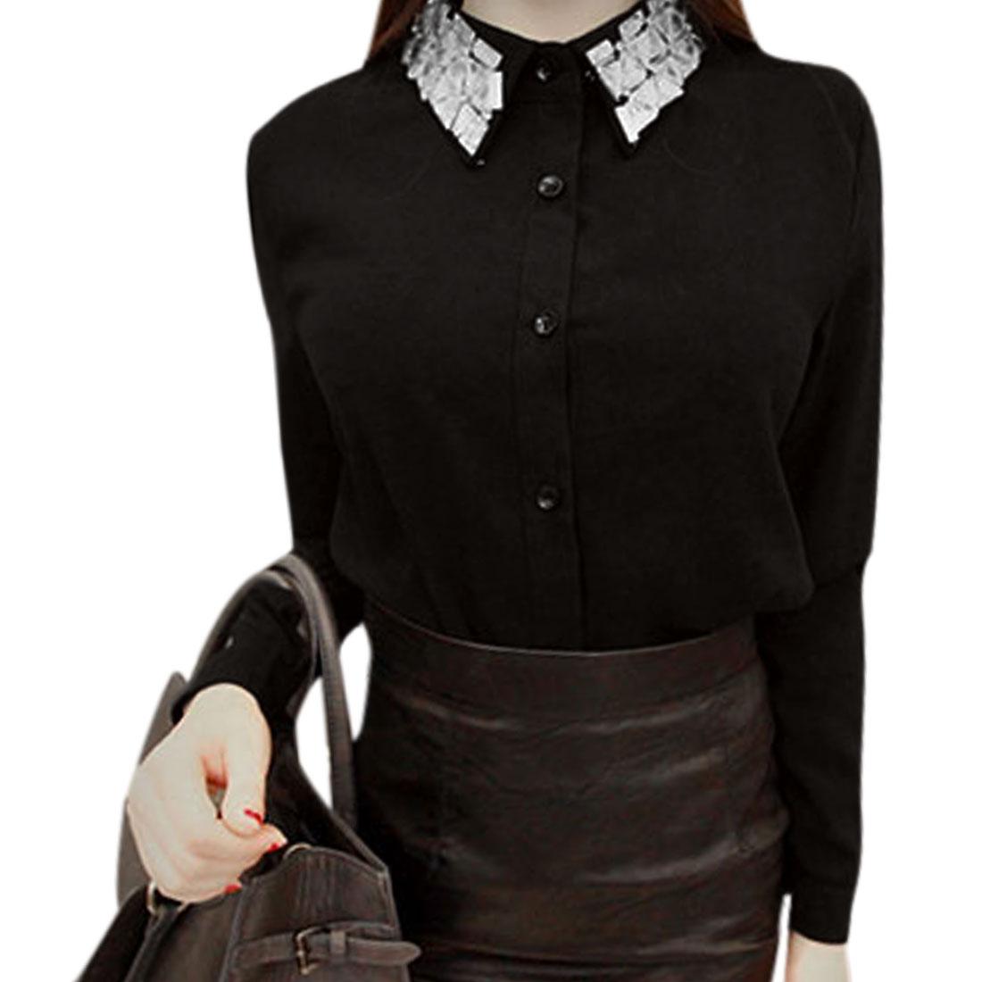 Women Single Breasted Button Cuffs Full Sleeve Shirt Black XS