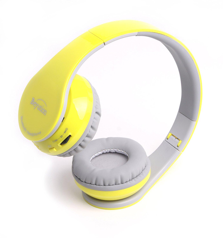 Beyution Bluetooth Wireless Headphones Headse bluetooth  Earphones Buit in Mic for Android iPHONE Smartphones--Yellow