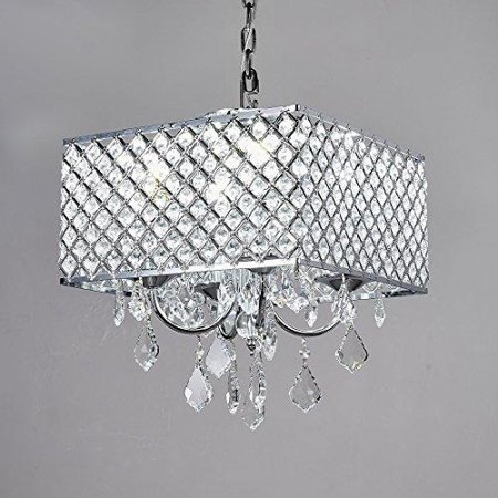 Square Ceiling Fixture (New Galaxy 4-Light Chrome Finish Square Metal and Crytal Shade Crystal Chandelier Pendant Hanging Ceiling)