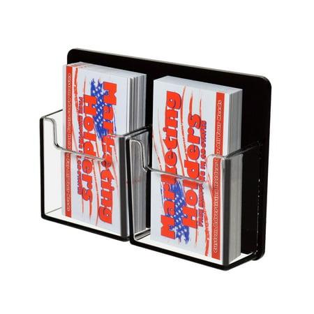 2 Pocket Vertical Business Card Holder Wall Mount Black Clear