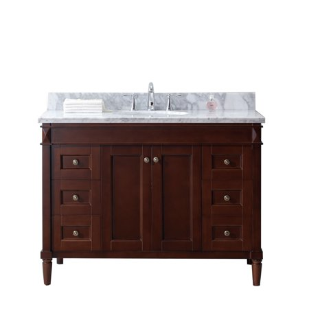 Virtu Usa  Tiffany 48 Inch Round White Marble Cherry Single Bathroom Vanity Set With No Mirror