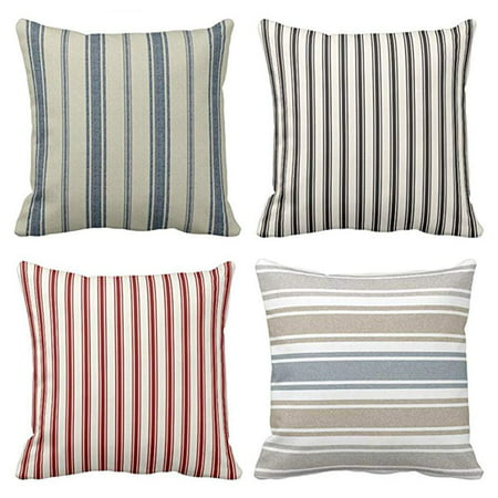 SUFAM Set of 4 Pillow Cases Blue Stripe Striped Classic Ticking Pattern and Cream Navy French Throw Pillowcase Cover Cushion Case Home Decor 16x16 inch ()