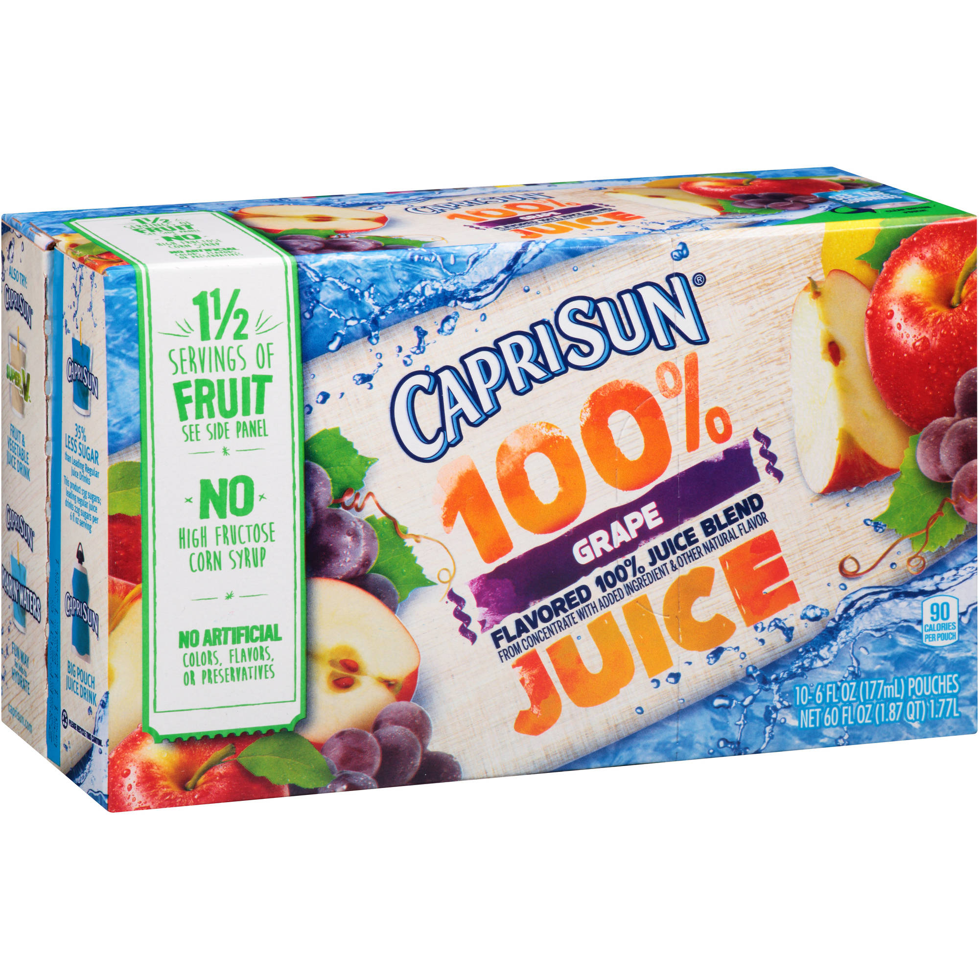 Capri Sun 100% Grape Flavored Juice, 6 fl oz, 10 count